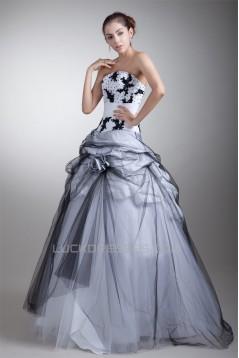 Strapless Satin Net Floor-Length Ball Gown Prom/Formal Evening Dresses 02020926