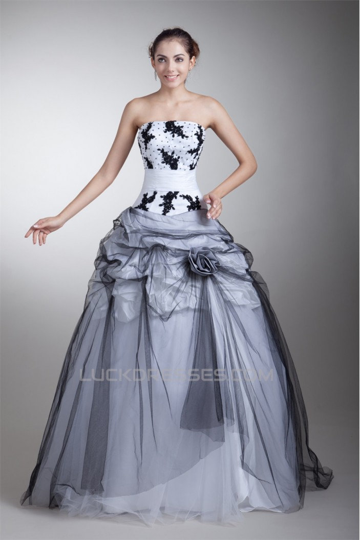 Strapless Satin Net Floor-Length Ball Gown Prom/Formal Evening Dresses 02020926