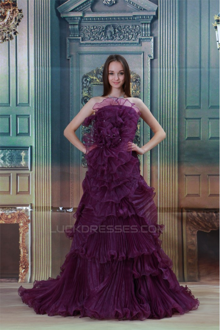 Strapless Sleeveless Satin Beading A-Line Prom/Formal Evening Dresses 02020931