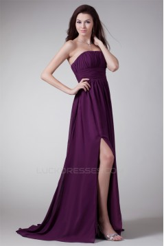 Strapless Sleeveless Sheath/Column Split Front Prom/Formal Evening Bridesmaid Dresses 02020932
