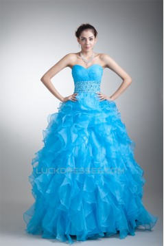 Sweetheart Sleeveless Floor-Length Satin Organza Prom/Formal Evening Dresses 02020945