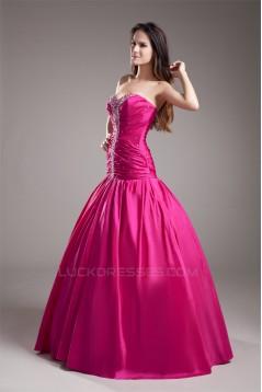 Taffeta Beading Sleeveless Floor-Length Prom/Formal Evening Dresses 02020952
