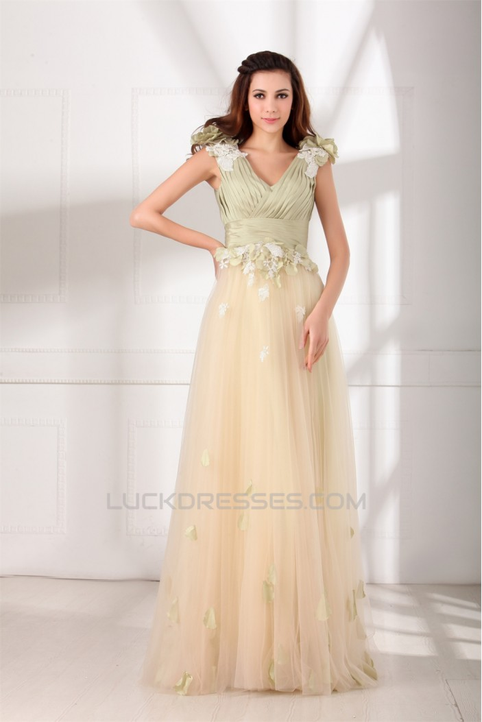 Taffeta Fine Netting Sleeveless Floor-Length Prom/Formal Evening Dresses 02020953