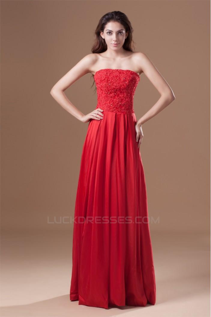 A-Line Taffeta Lace Strapless Sleeveless Prom/Formal Evening Dresses 02020955