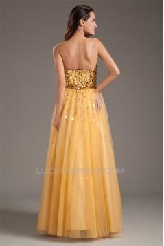 A-Line Taffeta Net Sequins Sleeveless Sweetheart Prom/Formal Evening Dresses 02020956