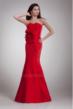 Taffeta Sleeveless Handmade Flowers Sweetheart Prom/Formal Evening Dresses 02020959