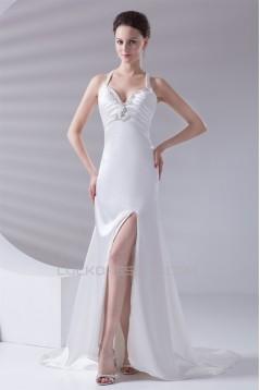 V-Neck A-Line Sleeveless Elastic Woven Satin Prom/Formal Evening Dresses 02020961