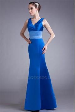 Trumpet/Mermaid V-Neck Pleats Floor-Length Satin Prom/Formal Evening Bridesmaid Dresses 02020962