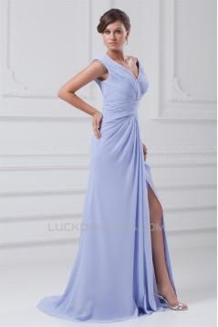 V-Neck Satin Chiffon Sleeveless Ruched Brush Sweep Train Prom/Formal Evening Dresses 02020963