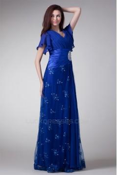 V-Neck Short Beading Chiffon Lace Elastic Woven Satin Prom/Formal Evening Dresses 02020964