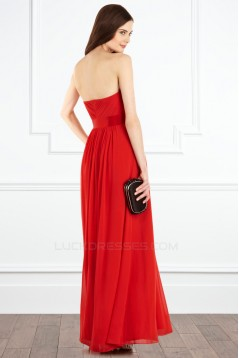 Sheath/Column Red Long Chiffon Prom Evening Party Bridesmaid Dresses 02020966