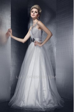 Beaded Long Tulle Prom Evening Party Dresses 02020968