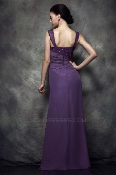 Sheath/Column Straps Sleeveless Long Chiffon Prom Evening Party Dresses 02020969