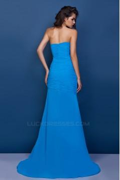 Sheath/Column Sweetheart Blue Long Chiffon Prom Evening Party Dresses 02020972
