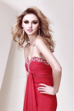 A-Line Sweetheart Beaded Red Long Chiffon Prom Evening Party Dresses 02020973