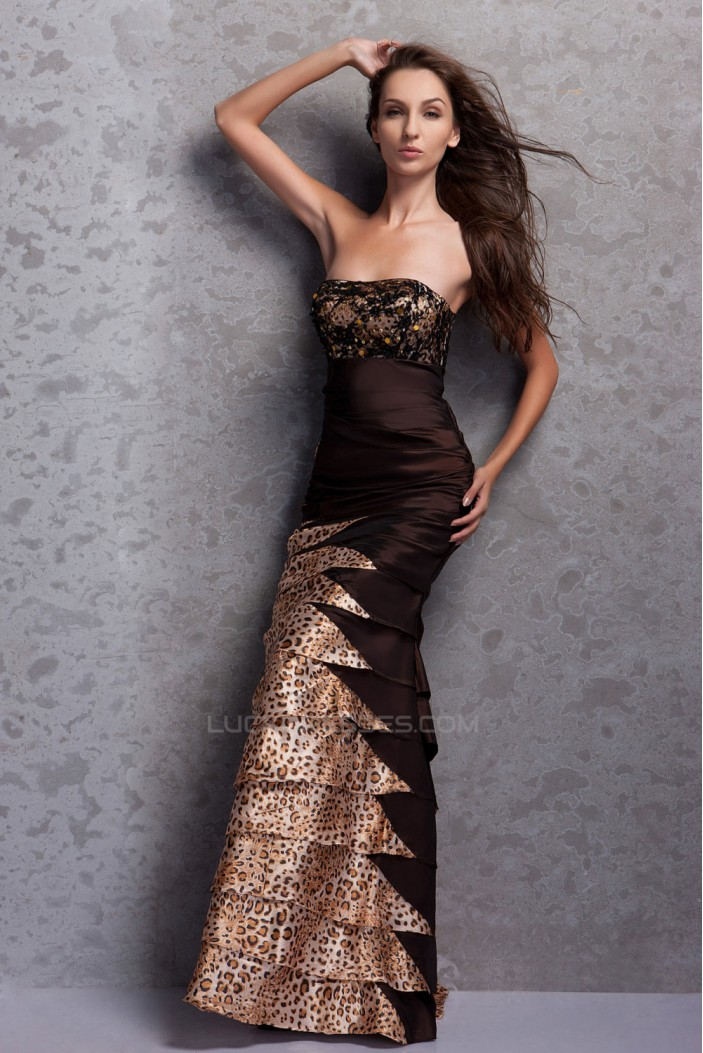 Sheath Strapless Long Prom Evening Party Dresses 02020975