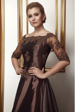 A-Line Half Sleeves Beaded Applique Evening Party Mother of the Bride Dresses 02020976