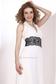 A-Line Halter Lace Chiffon Long Prom Evening Party Dresses 02020979
