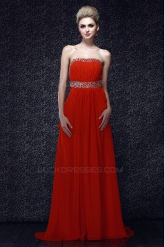 A-Line Strapless Long Chiffon Prom Evening Party Dresses 02020980