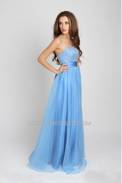 A-Line Strapless Beaded Long Prom Evening Party Dresses 02020983