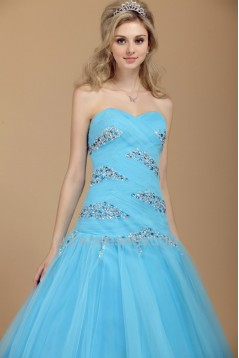 A-Line Sweetheart Beaded Long Blue Tulle Prom Evening Party Dresses 02020984