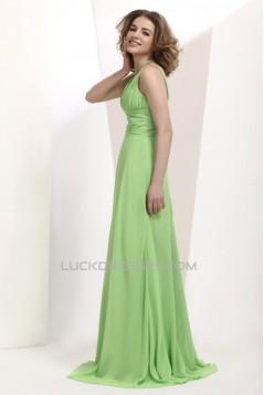A-Line V-Neck Long Chiffon Prom Evening Party Dresses 02020987