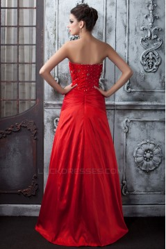 A-Line Beaded Lace Long Red Prom Evening Party Dresses 02020988