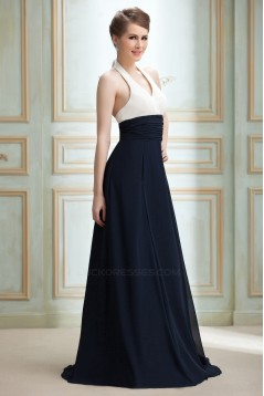 A-Line Halter Long Chiffon Prom Evening Party Bridesmaid Dresses 02020990