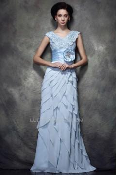 Sheath/Column V-Neck Long Chiffon Lace Prom Evening Party Dresses 02020992