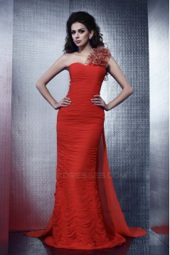 Trumpet/Mermaid One-Shoulder Long Chiffon Prom Evening Party Dresses 02020998