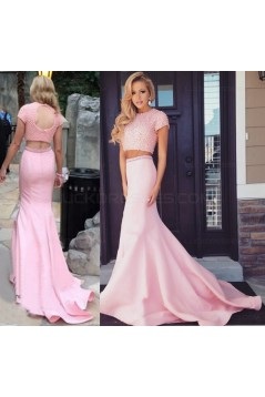 Two Pieces Pink Keyhole Back Prom Evening Formal Dresses 3020002