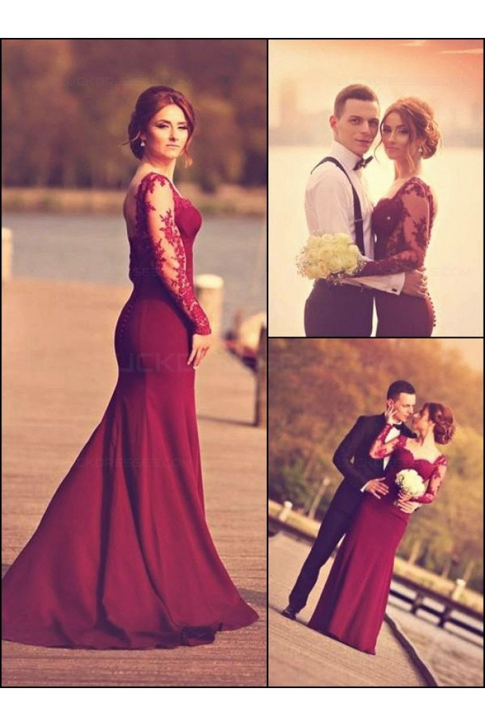 Trumpet/Mermaid Off-the-Shoulder Long Sleeves Red Lace Prom Evening Formal Dresses 3020003