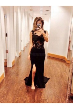 Long Black Lace Prom Evening Formal Dresses 3020004