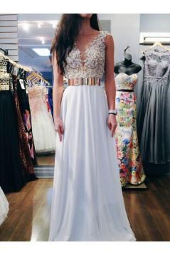 Long White Beaded Prom Evening Formal Dresses 3020005