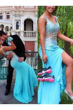 Long Blue Beaded Prom Evening Formal Dresses 3020006