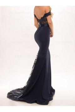 Trumpet/Mermaid Off-the-Shoulder Long Black Lace Prom Evening Formal Dresses 3020008
