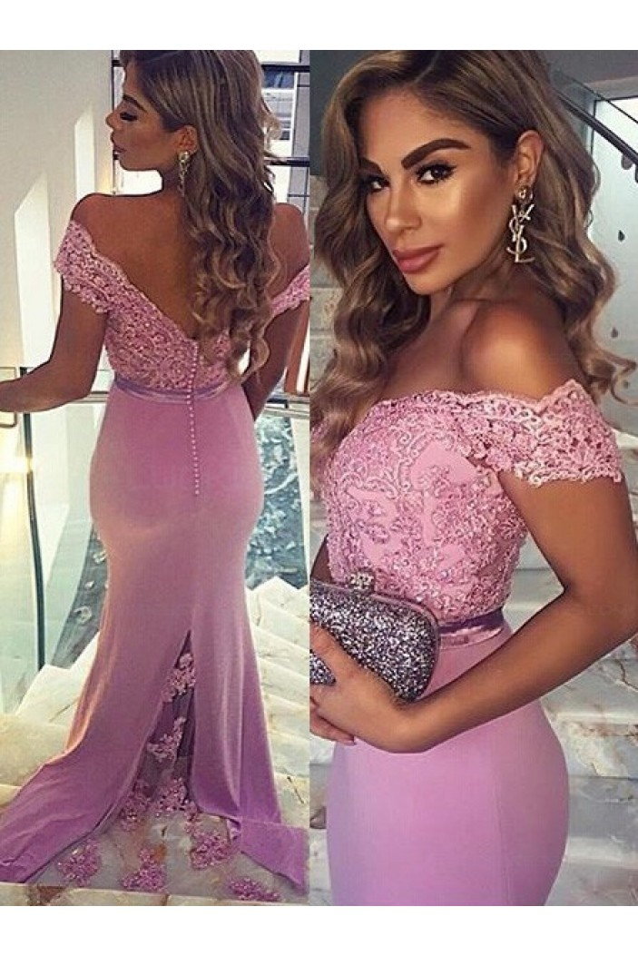 Trumpet/Mermaid Off-the-Shoulder Long Pink Lace Prom Evening Formal Dresses 3020009