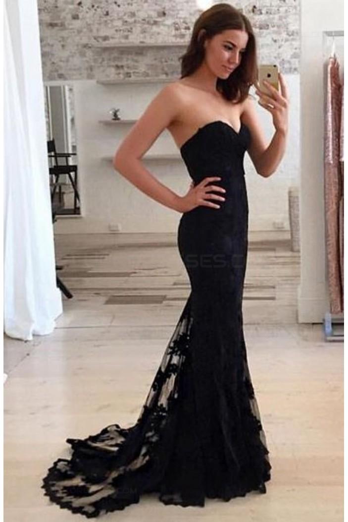 Trumpet/Mermaid Sweetheart Long Black Prom Evening Formal Dresses 3020011