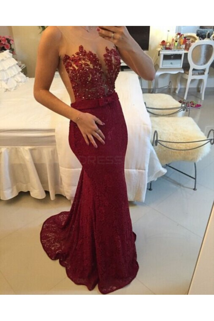 Trumpet/Mermaid Lace Long Red See Through Prom Evening Formal Dresses 3020013