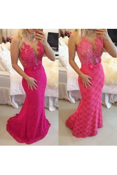 Trumpet/Mermaid Lace Long See Through Prom Evening Formal Dresses 3020014