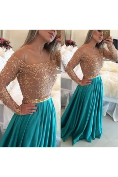 A-Line Off-the-Shoulder Long Sleeves Lace Chiffon Prom Evening Formal Dresses 3020015