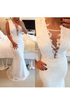 Sexy Trumpet/Mermaid Lace Long White See Through Prom Evening Formal Dresses 3020016