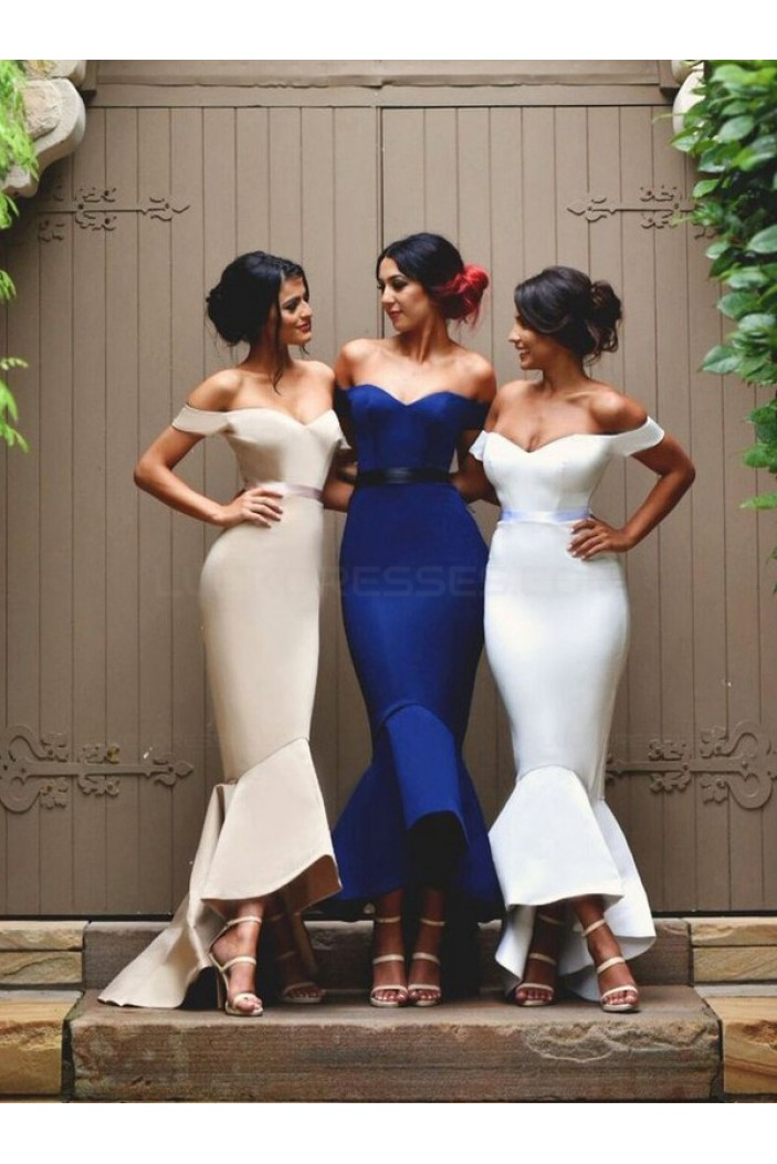 Sexy Trumpet/Mermaid Off-the-Shoulder Bridesmaid Prom Evening Formal Dresses 3020017