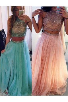 Two Pieces Beaded High Neck Long Prom Evening Formal Dresses 3020018