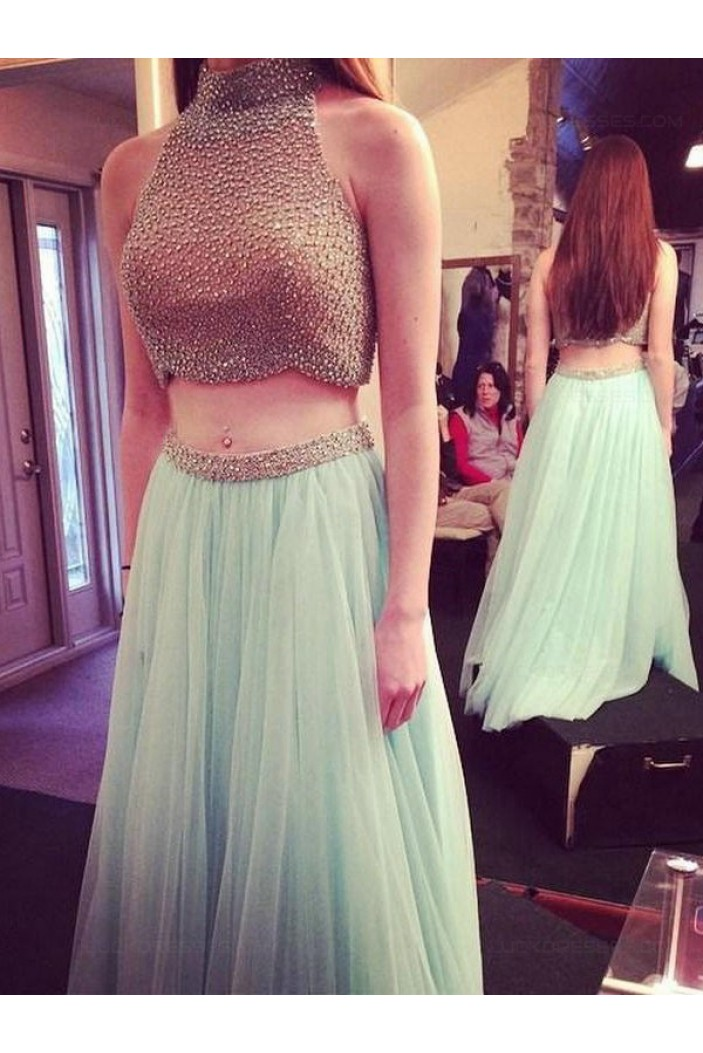 Two Pieces Beaded High Neck Long Prom Evening Formal Dresses 3020019
