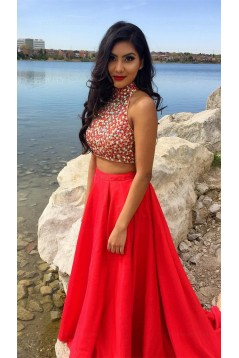 Red Two Pieces Beaded High Neck Long Prom Evening Formal Dresses 3020020