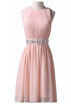 Short Pink Beaded Bridesmaid Prom Evening Formal Dresses 3020021