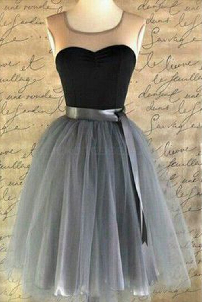 Short Sleeveless Tulle Bridesmaid Prom Evening Formal Dresses 3020023