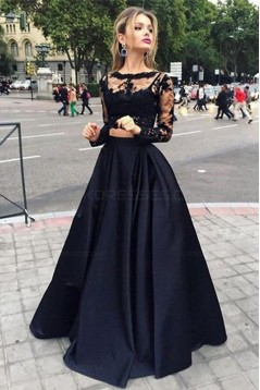 Two Pieces Long Sleeves Black Lace Prom Evening Formal Dresses 3020024
