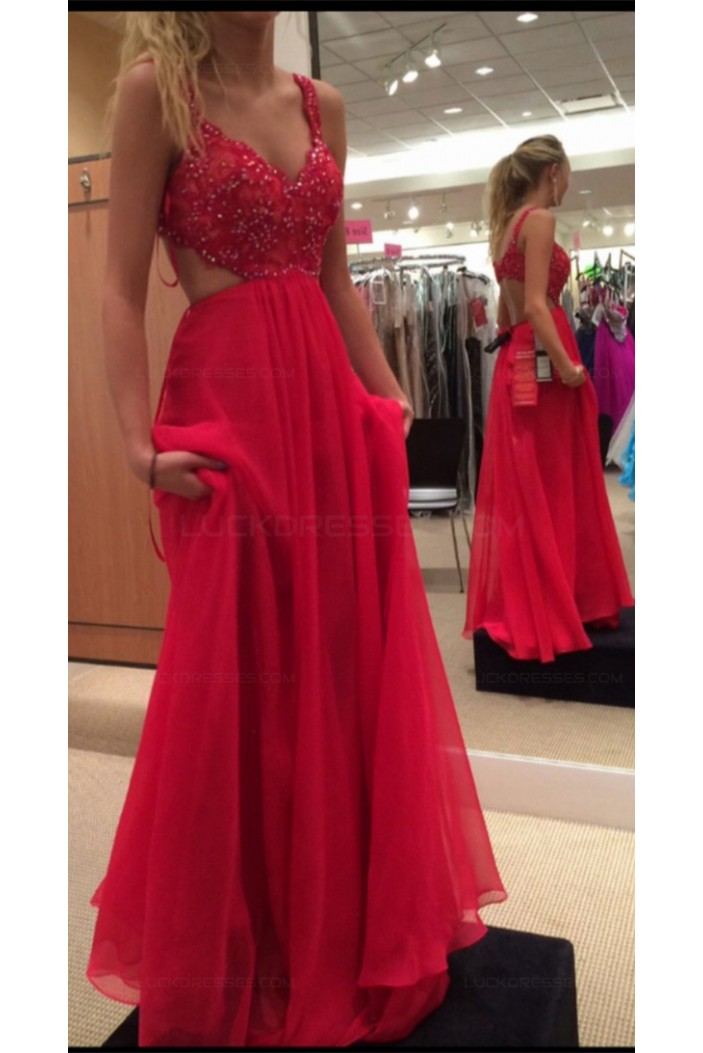 A-Line Long Red Chiffon Lace Prom Evening Formal Dresses 3020027